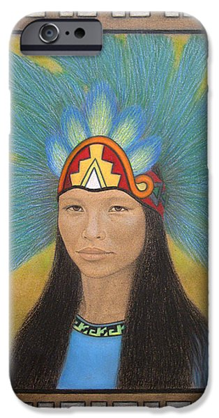 History Pastels iPhone Cases - Ichpochtli iPhone Case by Lynet McDonald