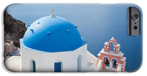 Greek Icon iPhone Cases - Iconic blue domed churches in Oia Santorini Greece iPhone Case by Matteo Colombo