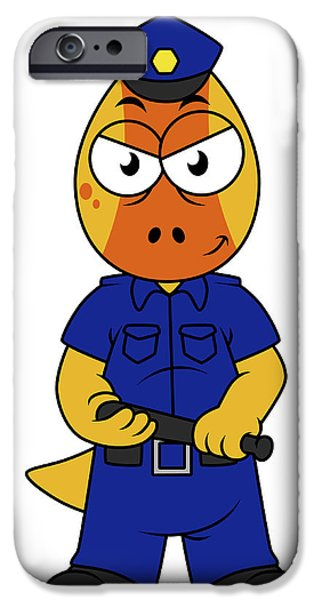 Police Officer iPhone Cases - Illustration Of A Pachycephalosaurus iPhone Case by Stocktrek Images