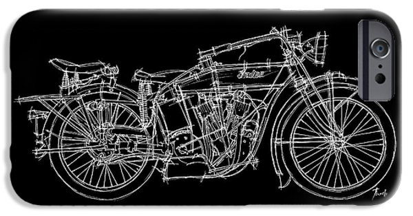 Bicycle Drawings iPhone Cases - Indian V Twin 1914 iPhone Case by Pablo Franchi