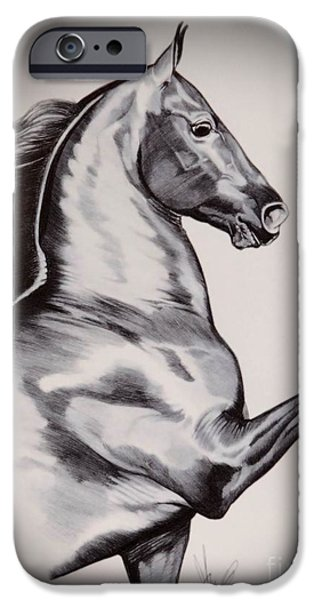 Drawing Of A Horse iPhone Cases - Into the Wind - Saddlebred iPhone Case by Cheryl Poland