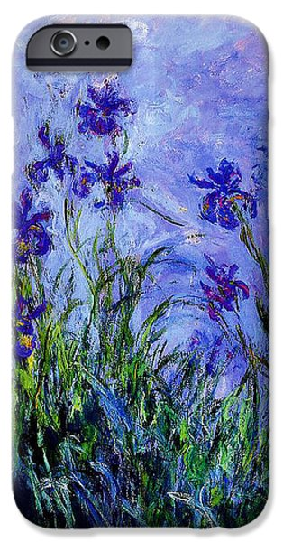 Red Abstract iPhone Cases - Irises iPhone Case by Claude Monet