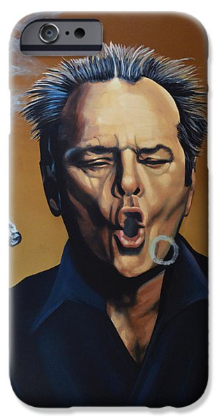 Idol Paintings iPhone Cases - Jack Nicholson iPhone Case by Paul  Meijering