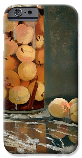 Glass Table Reflection iPhone Cases - Jar of Peaches iPhone Case by Claude Monet