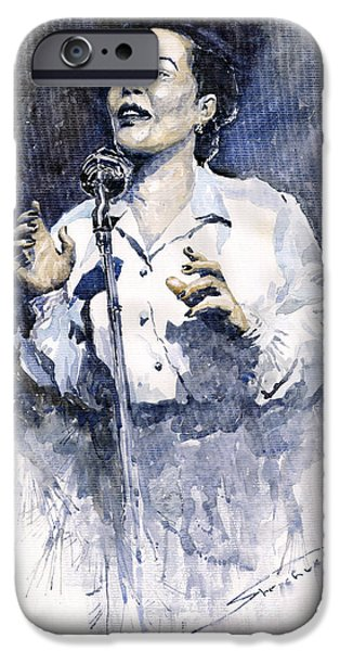 People iPhone Cases - Jazz Billie Holiday Lady Sings The Blues  iPhone Case by Yuriy  Shevchuk