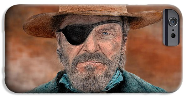 Bay Bridge Mixed Media iPhone Cases - Jeff Bridges as U.S. Marshal Rooster Cogburn in True Grit  iPhone Case by Jim Fitzpatrick