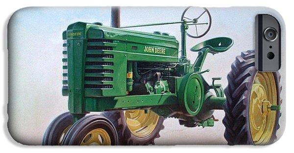 Model Paintings iPhone Cases - John Deere Tractor iPhone Case by Hans Droog