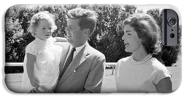 President iPhone Cases - John F. Kennedy with Jacqueline and Caroline 1959 iPhone Case by The Phillip Harrington Collection