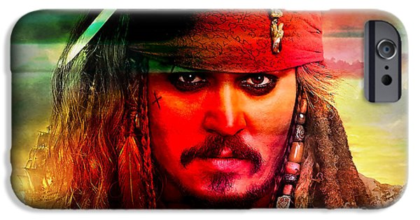 Jack iPhone Cases - Johnny Depp Painting iPhone Case by Marvin Blaine