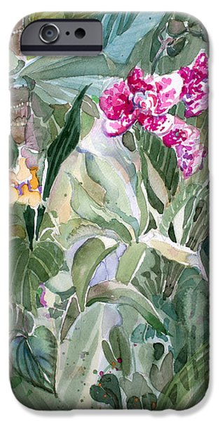Mist Drawings iPhone Cases - Jungle Orchids iPhone Case by Mindy Newman