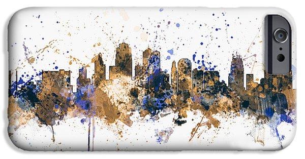 States iPhone Cases - Kansas City Skyline iPhone Case by Michael Tompsett
