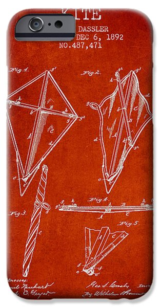 Kite iPhone Cases - Kite Patent from 1892 iPhone Case by Aged Pixel
