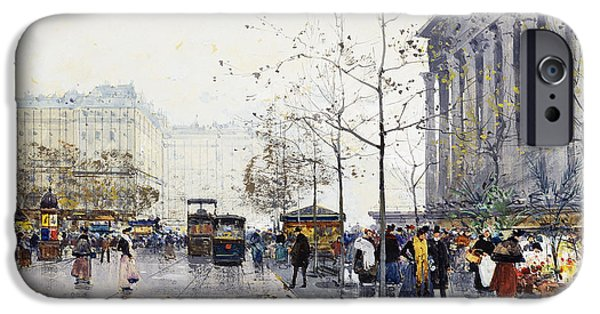 Jacques Lieven iPhone Cases - La Madeleine Paris iPhone Case by Eugene Galien-Laloue