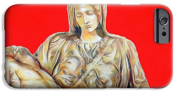 Unique Drawings iPhone Cases - La Pieta iPhone Case by Jose Espinoza