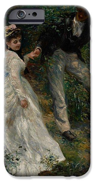 1870 iPhone Cases - La Promenade iPhone Case by Pierre Auguste Renoir