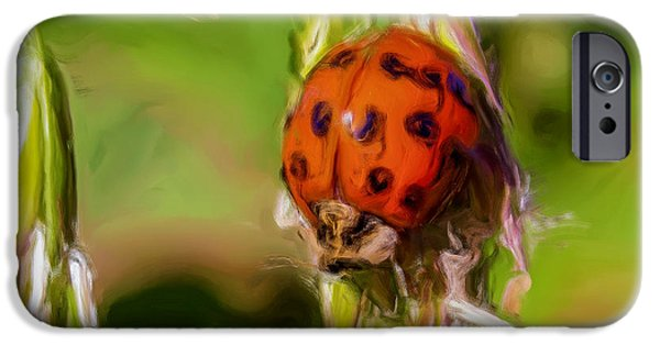 Macro Tapestries - Textiles iPhone Cases - Lady Bug iPhone Case by Dennis Bucklin