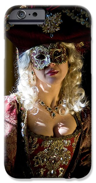 Duchess iPhone Cases - Lady in Mask iPhone Case by Zina Zinchik
