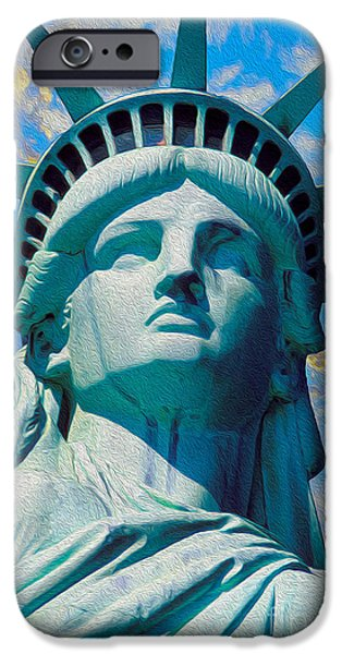 Nyc Mixed Media iPhone Cases - Lady Liberty iPhone Case by Jon Neidert