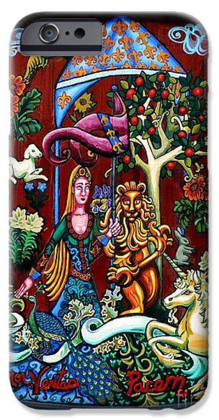 Birds Tapestries - Textiles iPhone Cases - Lady Lion and Unicorn iPhone Case by Genevieve Esson