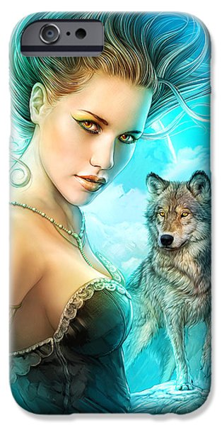 Shannon Maer iPhone Cases - Lady Wolf iPhone Case by Shannon Maer