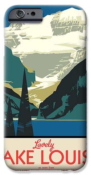 Vector Posters iPhone Cases - Lake Louise iPhone Case by Gary Grayson