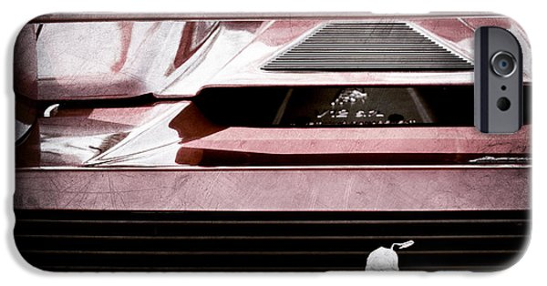 Rear View iPhone Cases - Lamborghini Rear View Emblem iPhone Case by Jill Reger