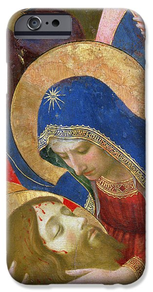 Son Of God Paintings iPhone Cases - Lamentation over the Dead Christ iPhone Case by Fra Angelico