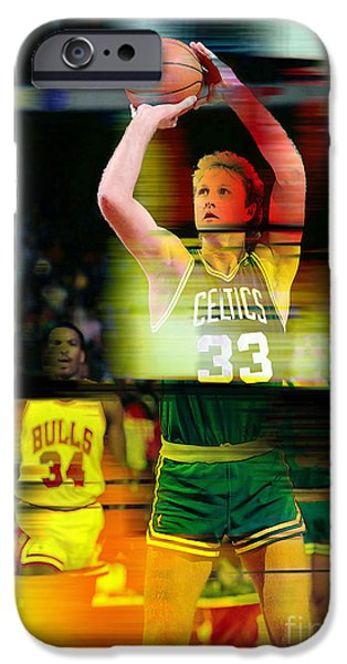 Boston iPhone Cases - Larry Bird iPhone Case by Marvin Blaine