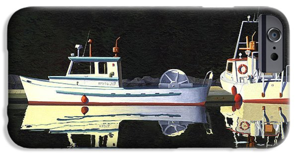 Trawler iPhone Cases - Last light  island moorage iPhone Case by Gary Giacomelli