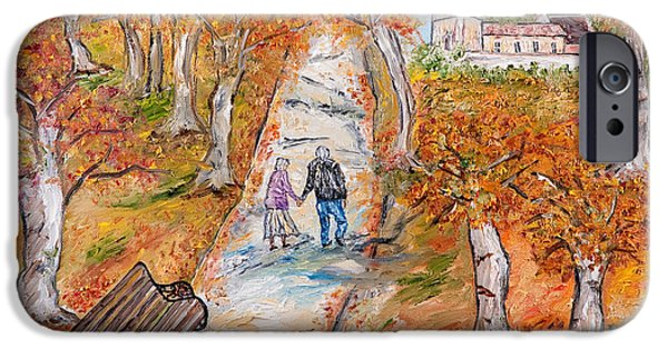 Park Scene Drawings iPhone Cases - Lautunno della vita iPhone Case by Loredana Messina