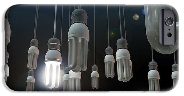 Electrical Digital iPhone Cases - Leadership Hanging Lightbulb iPhone Case by Allan Swart