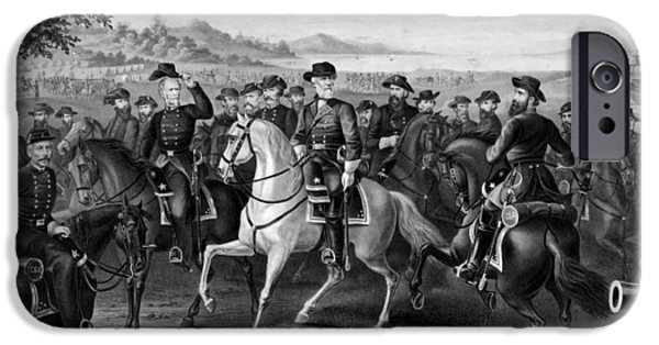 The Horse Drawings iPhone Cases - Lee and His Generals iPhone Case by War Is Hell Store