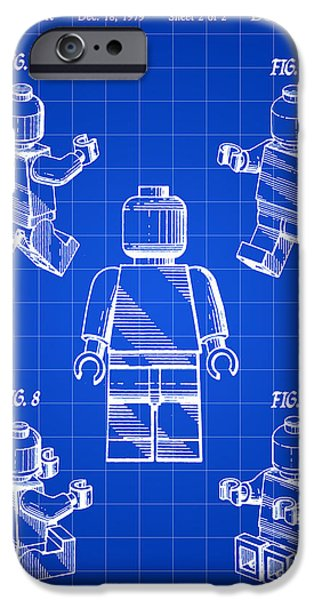 Interlocking iPhone Cases - Lego Figure Patent 1979 - Blue iPhone Case by Stephen Younts