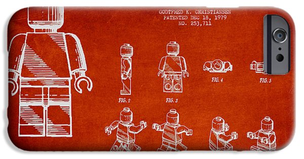Lego Digital iPhone Cases - Lego toy Figure Patent Drawing iPhone Case by Aged Pixel