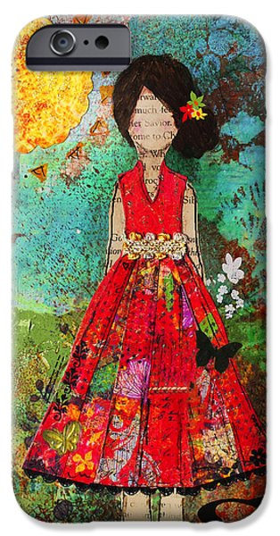 Folk Art Mixed Media iPhone Cases - Let The Sun Shine In iPhone Case by Janelle Nichol