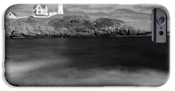 Nubble Lighthouse iPhone Cases - Lighthouse At A Coast, Nubble iPhone Case by Panoramic Images