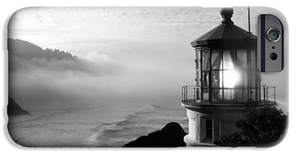 Coastal Places iPhone Cases - Lighthouse On A Hill, Heceta Head iPhone Case by Panoramic Images