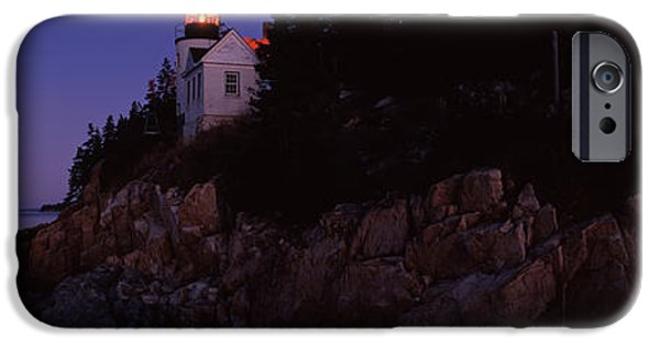 Coastal Places iPhone Cases - Lighthouse On The Coast, Bass Head iPhone Case by Panoramic Images