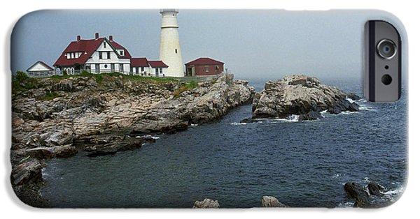 Maine Seacoast iPhone Cases - Lighthouse - Portland Head Maine iPhone Case by Frank Romeo