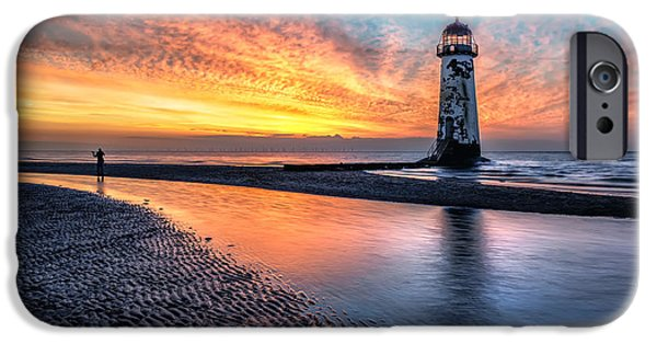 Sunset Seascape iPhone Cases - Lighthouse Sunset iPhone Case by Adrian Evans