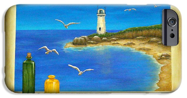 Lighthouse Mixed Media iPhone Cases - Lighthouse View iPhone Case by Pamela Allegretto