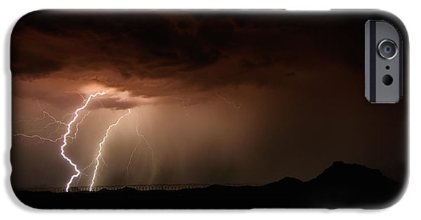 Natural Forces iPhone Cases - Lightning Storm  iPhone Case by Saija  Lehtonen