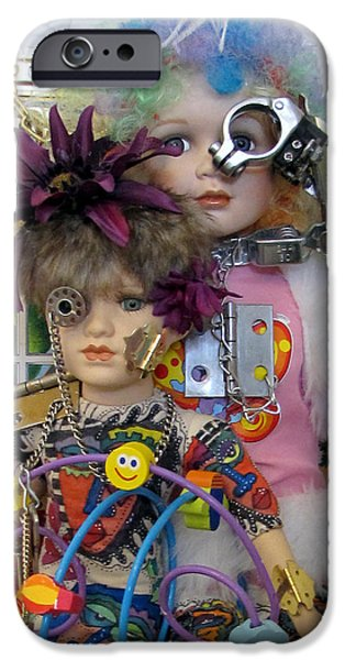 Fun Sculptures iPhone Cases - Lil Steampunks iPhone Case by Keri Joy Colestock