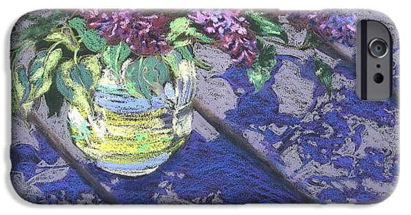 Still Life Pastels iPhone Cases - Lilacs iPhone Case by Gloria  Nilsson