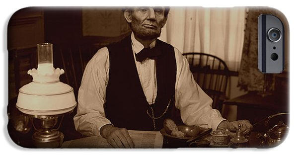 Abraham Lincoln Digital iPhone Cases - Lincoln at Breakfast iPhone Case by Ray Downing