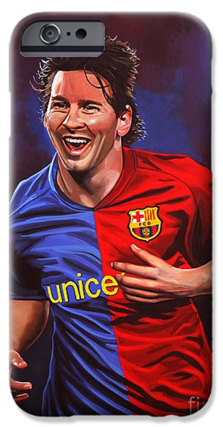 Sportsman iPhone Cases - Lionel Messi  iPhone Case by Paul  Meijering