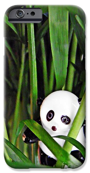 Bamboo Leaves iPhone Cases - Little Glass Pandas 59 iPhone Case by Sarah Loft