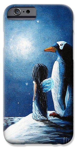 Snowy Night iPhone Cases - Little Penguin Fairy by Shawna Erback iPhone Case by Shawna Erback