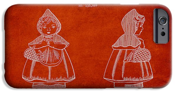 Little Digital Art iPhone Cases - Little Red Riding Hood Patent Drawing from 1943 iPhone Case by Aged Pixel