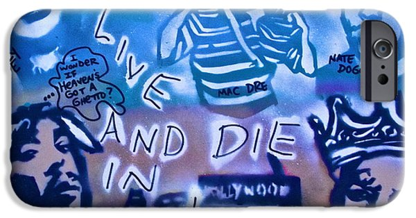 First Amendment Paintings iPhone Cases - 2 Live n Die n LA iPhone Case by Tony B Conscious